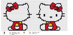 Free Hello Kitty Cross Stitch Chart or Hama Bead Pattern Kawaii Cross Stitch, Cross Stitch For Kids, Mini Cross Stitch, Beaded Cross Stitch, Cross Stitch Charts, Cross Stitch Patterns, Hello Kitty Crochet, Nerd Crafts, Tapestry Crochet