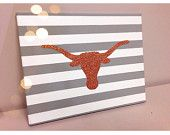 University of Texas Canvas  #universityoftexas #texas #canvas #handmade #austin #UT #longhorns #painting #glitter #stripes #dormroom #college #decor #gray #orange #students #gift