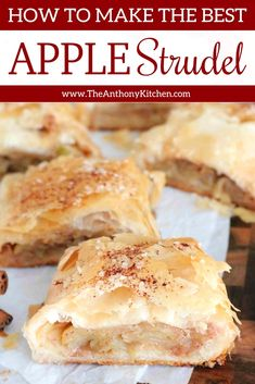 Easy Homemade Apple Strudel with a phyllo crust is perfect for fall baking, brunches, big family breakfast, and a sweet tea time snack! Make this easy apple dessert that absolutely everyone loves! Phyllo Dough Recipes, Strudel Recipes, Phylo Pastry Recipes, Puff Pastry Desserts, Oreo Dessert, Dinner Dessert, Just Desserts, Delicious Desserts, Apple Dessert Recipes