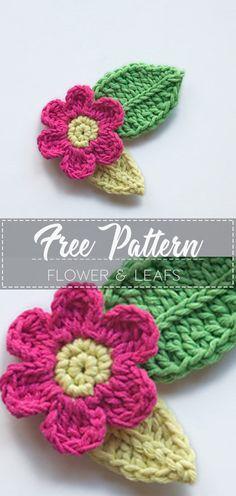 Crochet Leaf Free Pattern, Knitted Flower Pattern, Crochet Applique Patterns Free, Crochet Flower Tutorial, Crochet Motif, Crochet Yarn, Knitted Flowers Free, Crochet Leaves, Crochet Flowers