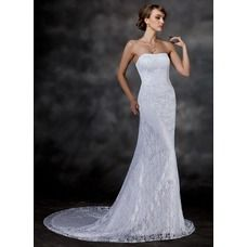 [US$ 172.99] Mermaid Sweetheart Chapel Train Satin Lace Wedding Dress (002000513)