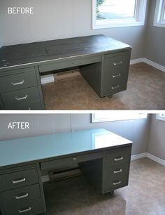 This desk was so disgusting... the rubber top was so damaged (full of deep cuts, grease & grime, gum...). Here's what I did to refinish the top:  1) I peeled the old rubber off  2) Coated the bare metal with Rustoleum primer (2 coats, just to be safe)  3) 2 coats of light turquoise latex paint  4) After it dried, I poured a bartop epoxy over the whole thing!  I now have a usable, shiny new desk top - in the color of my choice! :)