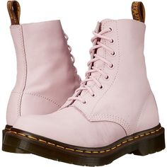 Dr. Martens Pascal 8-Eye Boot (Bubblegum Virginia) Women's Lace-up... (€89) ❤ liked on Polyvore featuring shoes, boots, pink, slip resistant boots, pink shoes, lacing boots, pink boots and lace-up platform boots