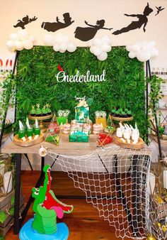 Peter Pan in Neverland First Birthday Party Dessert Table peterpanbirthday peterpanpartyideas peterpanbirthdayparty peterpantheme 682365781022502252 Boys First Birthday Party Ideas, Birthday Party Desserts, First Birthday Party Themes, Birthday Themes For Boys, Baby Boy First Birthday, Birthday Party Tables, Boy Birthday Parties, Birthday Party Decorations, Birthday Kids