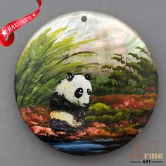 HAND PAINTED PANDA BEAR MOTHER OF PEARL SHELL NECKLACE PENDANT ZL30 06423 #ZL #PENDANT