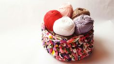 Handmade crochet design multicoloured cotton basket  #crochetbasket  #design #handmade #lotsofcolours