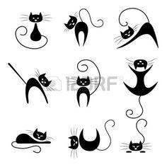 Noir collection de silhouette de chat. Chats dans diverses poses Banque d'images