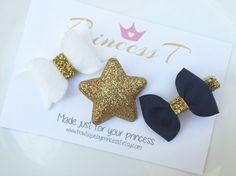 Girls/ Baby Hair Clip Set Gold Glitter Star by BowtiquebyprincessT