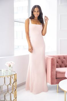Style 5904 Hayley Paige Occasions bridesmaids gown - Frosé crepe A-line gown, square neckline, natural waist, tie detail at back.Spring 2019 Bridesmaids dresses arriving in stores early January Unique Dresses, Simple Dresses, Vintage Dresses, Glam Dresses, Bridal Lace, Bridal Gowns, Grad Dresses Short, Bridesmaid Dresses, Wedding Dresses