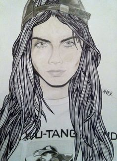 Cara Delevingne Drawing/Illustration  Created using: -pastel -charcoal -pencil -fineliner  Size: A4