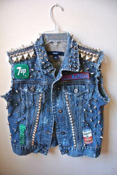 Super Custom Denim Studded Patched Vest by Moon Shine Apparel. $315.00, via Etsy.