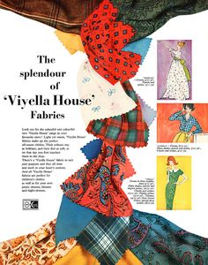The splendor of Viyella House fabrics. Latest Images, Coming Of Age, Love Sewing, Vintage Ephemera, Vintage Recipes, Art Sketchbook, Fashion Models, 1950s, Stuff To Do