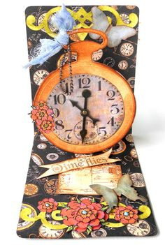 Fabulous card by Pia. Crafting ideas from Sizzix UK: Pop Up card-Time Flies-