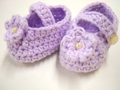 Baby Booties, Cotton Infant Booties, Handmade Crocheted Booties, Baby Shower Gift, Mary Jane Style Booties, Lavender