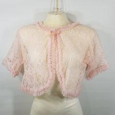 Vintage Stella Fagin Nylon Lace Chiffon Pleats Bed Jacket Pale Pink 50s One Size S M L by TraSheeWomen on Etsy #stellafagin #vintage #bedjacket #pink #lace #chiffon #pleats #lingerie #pajamas