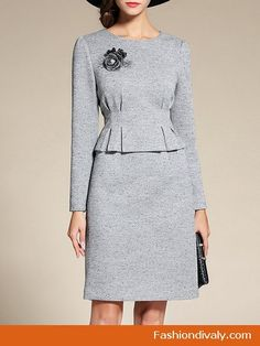 Gray Crew Neck Ruched Two Piece Elegant Midi Dress - Classy Dress, Classy Outfits, Work Fashion, Fashion Outfits, Mode Lolita, Elegant Midi Dresses, Frack, Dressy Tops, African Fashion Dresses