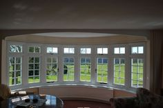 Inside view of a large Residence 9 Grained White bay window