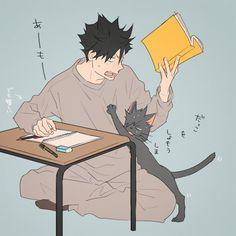 Stop bothering me, Kuroo-neko! Bokuto Koutarou, Kuroo Tetsurou, Kuroken, Kagehina, Haikyuu Nekoma, Haikyuu Fanart, Haikyuu Anime, Hot Anime Boy, Anime Guys
