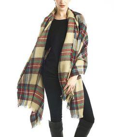 Tan Plaid Wool-Blend Scarf