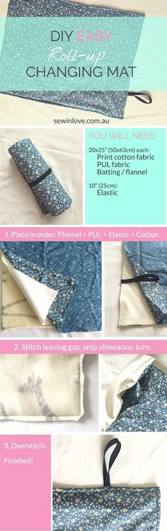 DIY Baby Changing Mat Tutorial: This is a fast and easy sewing project which makes a wonderful baby shower gift. You can use PUL or oilcloth to make the changing mat waterproof. Using either batting or flannel makes the mat nice and softly padded for litt