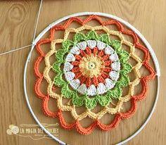 ergahandmade: Crochet Mandala + Free Pattern + Diagram Knitting ProjectsKnitting For KidsCrochet Hair StylesCrochet Baby Crochet Diy, Crochet Wall Art, Crochet Amigurumi, Crochet Home, Love Crochet, Crochet Gifts, Motif Mandala Crochet, Crochet Circles, Crochet Shawl
