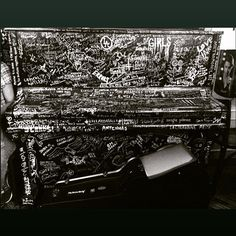 Loved this piano scrawled on by musicians at Backstage Hotel, Amsterdam