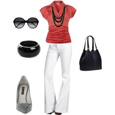 """""""red, white, black, and gray work outfit"""" by lora-b-littleton on Polyvore"""