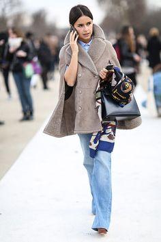 Mira Duma wearing shearling cape coat, flare jeans, Hermés Kelly & scarf #StreetStyle