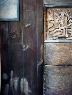 mixed media, an old wooden door, 100x70 cm so real and textured :)