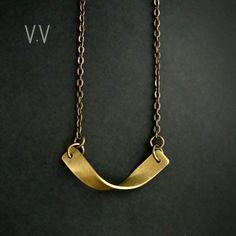 Twist Bar Necklace // Brass Jewelry // Vivid Venus