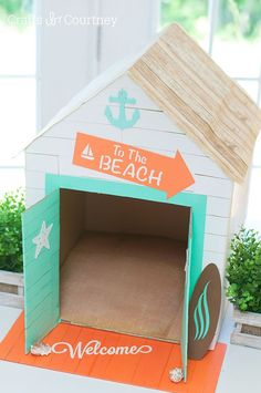 I loved working on this cardboard box cat or dog house and giving it a beachy…