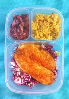 Baked Tilapia and Summer Slaw packed in #EasyLunchboxes