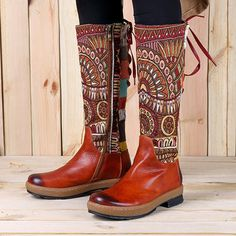 Socofy SOCOFY Bohemian Splicing Pattern Flat Leather Rainbow Knee Boots is hot-sale. Come to NewChic to buy womens boots online Mobile. Leather Motorcycle Boots, High Leather Boots, Leather Heels, Real Leather, Mid Calf Boots, Knee High Boots, Boots Boho, Bohemian Shoes, Bohemian Fashion