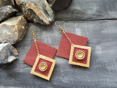 Leather earrings. Long earrings. Dangle earrings. Red