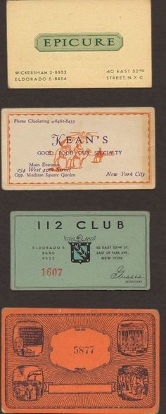 """These speakeasy cards, collected between 1920 and 1933, served as certificates of membership and admission for illegal drinking establishments during Prohibition. While bouncers at some speakeasies could recognize all of their customers and other clubs used passwords, these cards were one more method of identifying the person standing at the door as somebody who should be let inside."""""""
