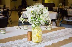 rustic country wedding burlap lace runner lemon centerpiece