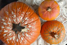delicately painted pumpkins