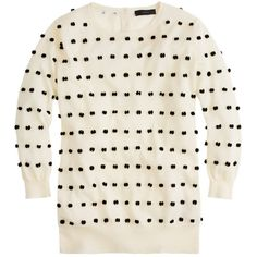Tippi sweater in swiss dot ($138) ❤ liked on Polyvore featuring tops, sweaters, shirts, outerwear, shirts & tops, j.crew, dot shirt, j crew shirt and dot sweater