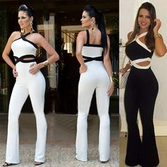 189ea8ed02e Large size Jumpsuit Women Overall Black White Stitching Sling Halter Sexy  Elegant Waist New Womens Jumpsuit pants coveralls