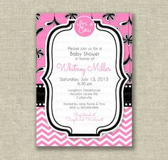 Baby Girl Shower Invitation Invite Modern Mod by girlsatplay, $12.00