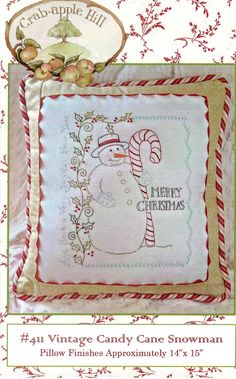 Vintage Candy Cane Snowman Pillow Pattern by LavenderQuiltShop on Etsy