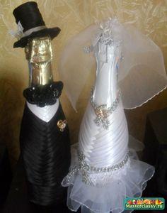 Украшение свадебного шампанского. Жених во фраке. Мастер класс с пошаговыми фото