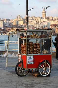 Simit Vendor Istanbul by Olga Irez of Delicious Istanbul ** used to be my fav thing to eat in the morning! Istanbul City, Istanbul Travel, Pictures Of Turkeys, Capadocia, S Bahn, Thinking Day, Turkey Travel, Turkish Recipes, What A Wonderful World