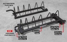 The best horizontal rack on the market! of bumpers and of steel! Keep your bumpers and change in one place. Plate Organizer, Plate Storage, Plate Racks, Weight Rack, Diy Rack, Old Plates, Rogue Fitness, Garage Gym, Steel Plate