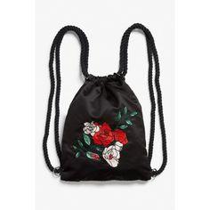 Drawstring bag (460 ARS) ❤ liked on Polyvore featuring bags, backpacks, daypack bag, knapsack bag, monki, pattern drawstring bag and drawstring bag backpack