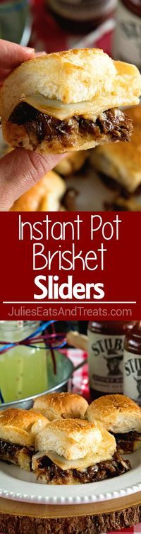 Instant Pot Brisket Sliders with Caramelized Onions ~ Tender, Shredded Brisket Cooked in Your Instant Pot. Stuffed into Sliders Then Topped with Caramelized Onions and Cheese! Perfect Finger Food for Parties! ~ http://www.julieseatsandtreats.com