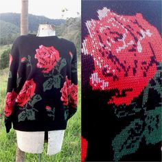 Your place to buy and sell all things handmade Vintage Jumper, Vintage Roses, Floral Flowers, Red Green, Pullover, Knitting, Lady, Sweaters, Shopping