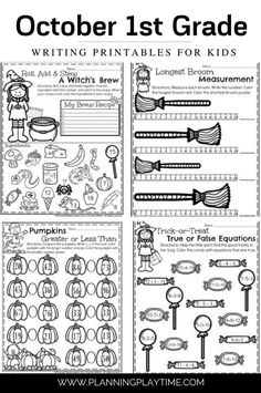 October First Grade Worksheets: fun Halloween learning activities.