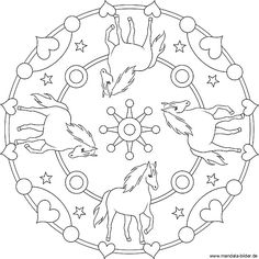 Mandala with four horses - Coloring pictures for kids