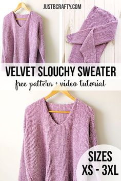 Good Free knitting sweaters pattern Style The Velvet Slouchy V-Neck Knit Sweater – Free Pattern by Just Be Crafty Pull Crochet, Free Crochet, Knit Crochet, Diy Crochet Sweater, Tunisian Crochet, Knitted Baby, Knitted Dolls, Crochet Granny, Crotchet